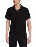 Calvin Klein Jeans Men's Solid Short Sleeve Polo, Black, Small