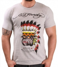 Ed Hardy By Christian Audigier Bulldog Chief Men's T-Shirt Crewneck Tee Size L