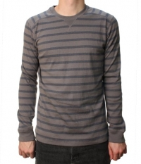 Quiksilver Men's Snitted Pull Over Sweater Dark Gray & Navy Blue Striped-Large