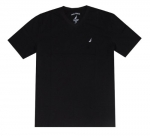 Nautica Men Solid Classic V-Neck Tee T-Shirt (S, Black)