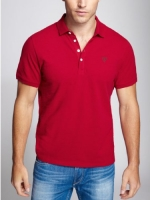 GUESS Men's Classic Pique Polo, DEEP SCARLET (XS)
