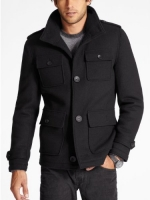 GUESS Men's Boiled Wool Peacoat, JET BLACK (SMALL)