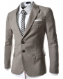 TheLees Mens casual peak lapels 2 button jacket blazer Beige Medium(US Small)