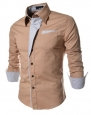 TheLees Mens Casual Long Sleeve Stripe Patched Fitted Dress Shirts BEIGE Large(US Small)