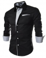 TheLees Mens Casual Long Sleeve Stripe Patched Fitted Dress Shirts Black Large(US Small)