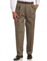 Haggar Men's Work To Weekend  Hidden Expandable Waist No Iron Twill Pleat Front Pant,Bark,30x30