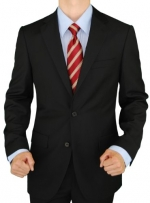 Presidential Blazer Two Button Mens Business Suit Jacket Only (40 Short, Black)