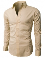 H2H Mens Wrinkle Free Slim Fit Dress shirts with Long Sleeve, BEIGE,Asia XXL- US XL (JASK14)