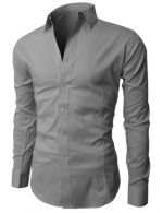 H2H Mens Wrinkle Free Slim Fit Dress shirts with Solid Long Sleeve GRAY XXL (JASK14)