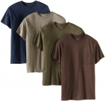 Fruit of the Loom Men's 4 Pack Pocket Tee, Assorted, Medium