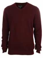Men's 100% Cashmere Solid V-Neck Sweater (M, Wine)