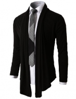 H2H Mens Fashion Shawl Cardigan with Shirring Neck Line BLACK Asia XL (JNSK37)