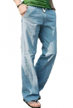 NEW Men's Trousers Linen Pants Long Loose Bucket Big Straight Casual Pants (US Size :L(Tag size:XXL), Blue)