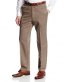 Haggar Men's Cool 18 Expandable Waist Solid Gabardine Plain Front Casual Pant, Bark, 30x30
