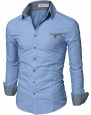 Doublju Luxury Button Down Dress Shrit for mens suit BLUE (US-XS)