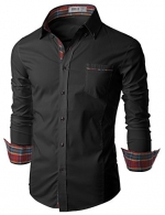Doublju Mens Tailored Dress Shirt with Slim Fitted Style BLACK (US-XS)
