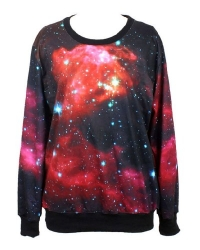 Pandolah Men's Neon Galaxy Cosmic Colorful Patterns Print Sweatshirt Sweaters (Free Size, 1003-16)