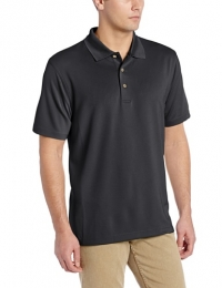 Cubavera Men's Essential Textured Performance Polo Shirt, Jet Black, Small