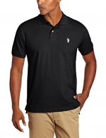 U.S. Polo Assn. Men's Solid Polo With Small Pony, Black/White, Small