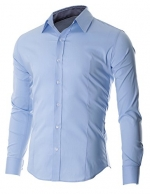 FLATSEVEN Men's Slim Fit Casual Button Down Dress Shirt Long Sleeve LightBlue, XS