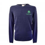 Men's Knit Jumper With Gold Ireland Text & Shamrock Crest, Bottle Green Colour