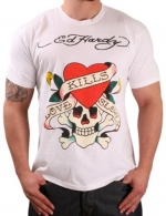 Ed Hardy Christian Audigier Mens Crew Neck Love Kills Slowly T-Shirt White Size L