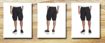 NAUTICA men's ripstop cargo short, black,